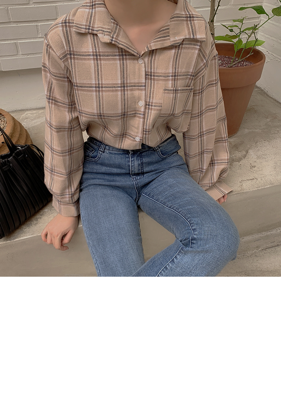 リリエンコ オーバーフィット チェック柄ワンポケットシャツ