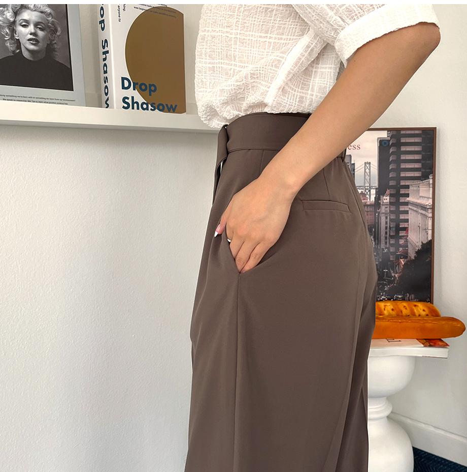 리리앤코 애너하인 와이드 벨트 슬랙스 팬츠