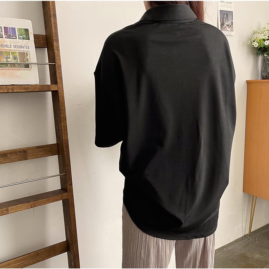RIRINCO ビッグポケットルーズフィット半袖シャツ