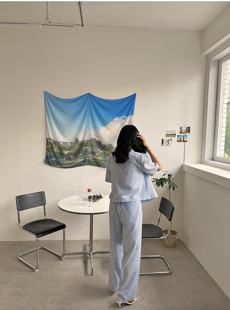 리리앤코 블리드 썸머 린넨 하이웨스트 슬랙스 투피스 팬츠