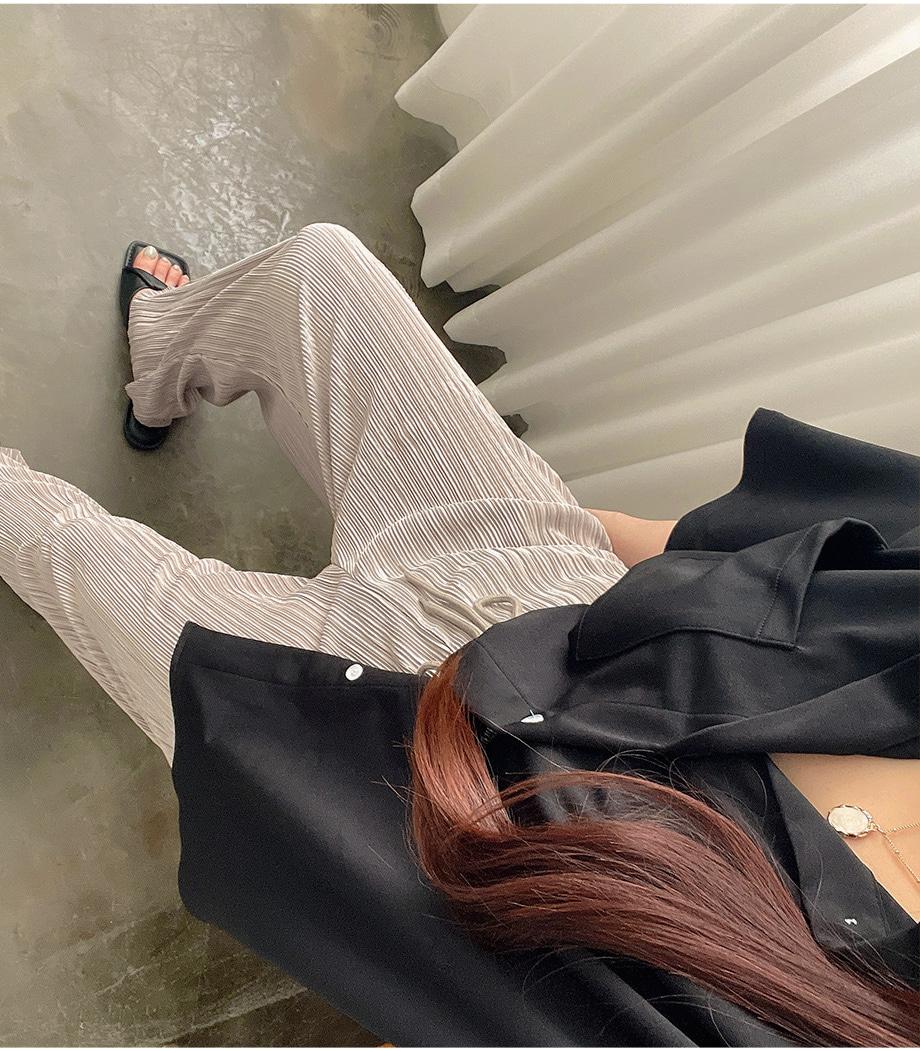 리리앤코 [BABARIN] 피너픈 플리츠 밴딩 와이드 팬츠