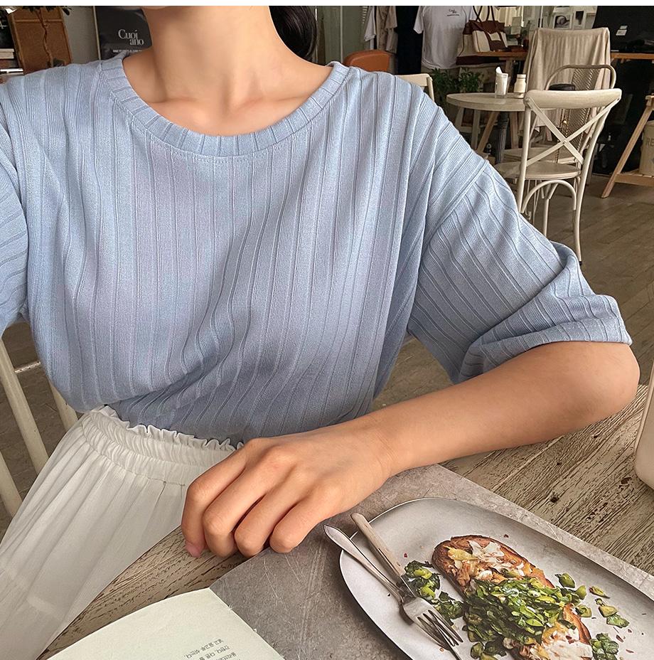 리리앤코 프루빗 라운드넥 골지 티셔츠