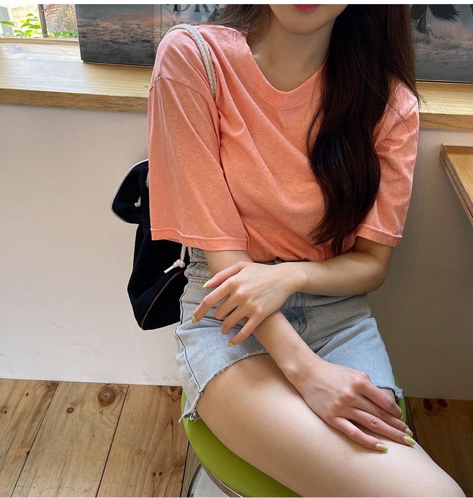 RIRINCO オーバーサイズサイドスリット半袖Tシャツ