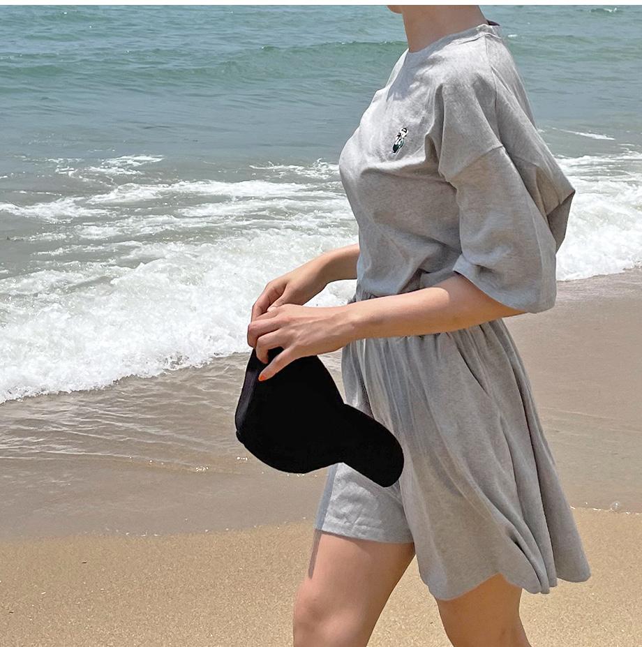 RIRINCO テディベア刺繍カットソー&ショートパンツトレーニング上下セット