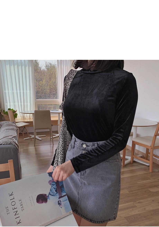 リリエンコ プチハイネック長袖ベロアTシャツ