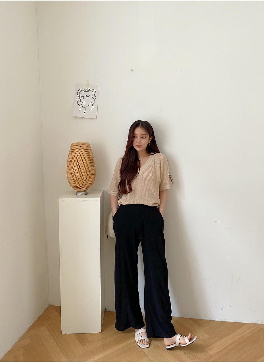 리리앤코 [BABARIN] 위드블 아이스 밴딩 와이드 팬츠